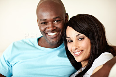 Buy stock photo Portrait of an affectionate couple enjoying a day together