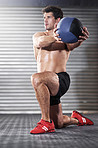 Getting in a great workout with his medicine ball