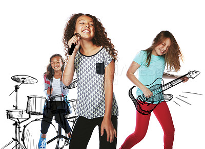 Buy stock photo Studio shot of children playing rock music on imaginary instruments