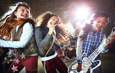 Buy stock photo Shot of children singing and playing rock music on imaginary instruments