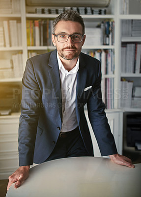 Buy stock photo Portrait of a businessman standing in his office