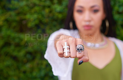 Buy stock photo Closeup shot of a woman with rings on her fingers