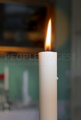 Buy stock photo A photo of a candle in the dark
