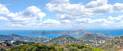 Buy stock photo A view over the Mediterranean sea - Bodrum area, Turkey