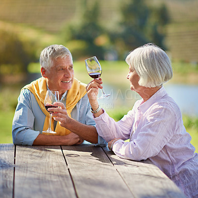 Buy stock photo Cropped shot of a senior couple out for a wine tasting