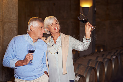 Buy stock photo Cropped shot of an affectionate senior couple wine tasting in a cellar