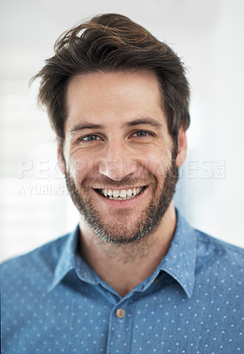 Buy stock photo Cropped portrait of a man standing at home