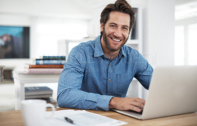 Buy stock photo Cropped portrait of a man working at home
