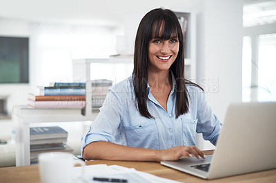 Buy stock photo Cropped portrait of a woman working at home