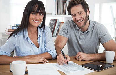 Buy stock photo Cropped portrait of a couple working at home