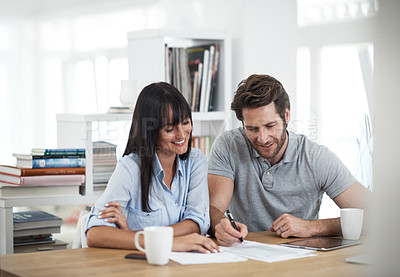 Buy stock photo Cropped shot of a couple working at home