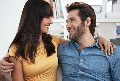 Buy stock photo Cropped portrait of a couple relaxing at home