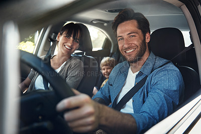 Buy stock photo Cropped portrait of a young family on a roadtrip