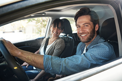 Buy stock photo Cropped portrait of a young couple on a roadtrip