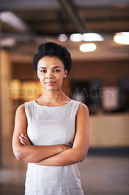 Buy stock photo Portrait               shot of a young businesswoman in her office