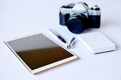 Buy stock photo High angle shot of a photographer's desk