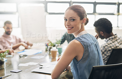 Buy stock photo Portrait of a businesswoman sitting in a meeting