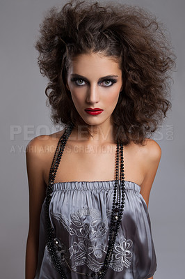 Buy stock photo Studio portrait of a beautiful young fashion model