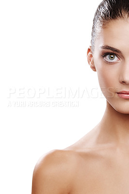 Buy stock photo Cropped studio shot of a beautiful young woman isolated on white