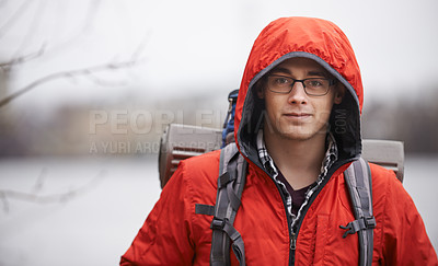 Buy stock photo Portrait of a young man out hiking