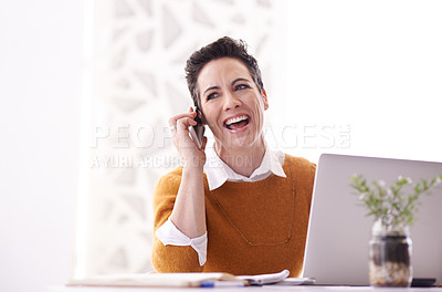 Buy stock photo Shot of a businesswoman using a mobile phone in an office