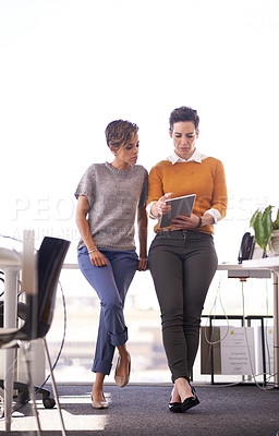 Buy stock photo Full length shot of two businesswomen working in the office
