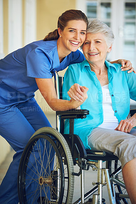 Buy stock photo Portrait of a doctor caring for her senior patient at a nursing home