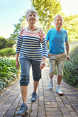 Buy stock photo Shot of a senior couple out for a workout