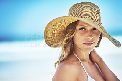 Buy stock photo Portrait of a gorgeous young woman in a bikini at the beach