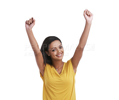 Buy stock photo Studio shot of a young woman cheering against a white background