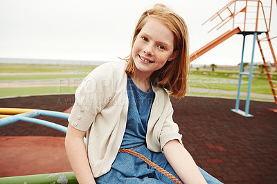 Buy stock photo Portrait of a young girl at the park