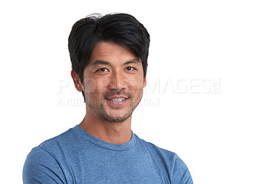Buy stock photo Studio portrait of a confident man posing against a white background