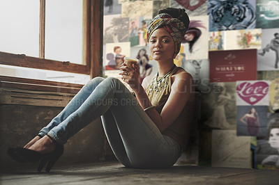 Buy stock photo Full length portrait of an attractive young woman drinking coffee