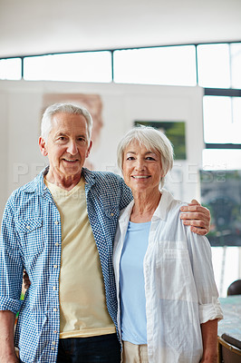 Buy stock photo Portrait of a loving senior couple at home