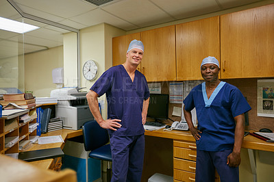 Buy stock photo Portrait of two confident surgeons in a hospital