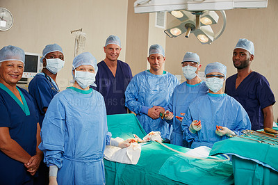Buy stock photo Portrait of a team of surgeons in an operating room