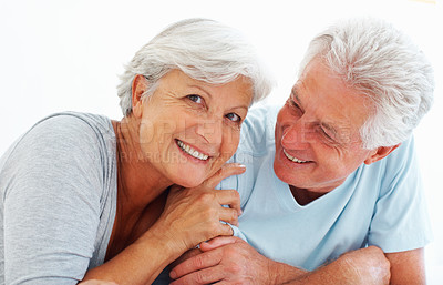 Buy stock photo Closeup portrait of senior couple smiling