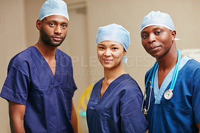 Buy stock photo Cropped portrait of three nurses standing in a hospital