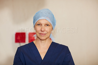 Buy stock photo Portrait of a confident surgeon working in a hospital