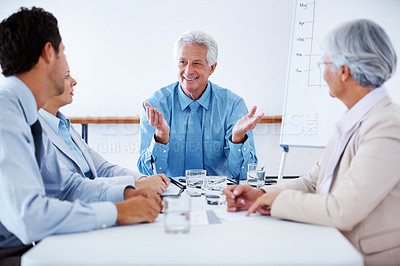 Buy stock photo Portrait of team of colleagues discussing working ideas during business meeting