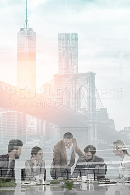 Buy stock photo Multiple exposure shot of colleagues having a meeting superimposed over a city background