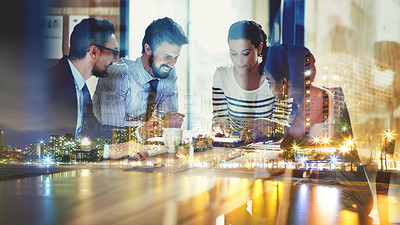 Buy stock photo Multiple exposure shot of a business group superimposed over a city