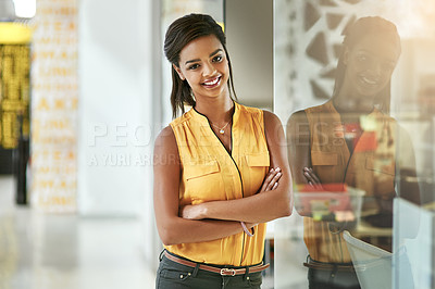 Buy stock photo Portrait of a smiling young woman working in an office