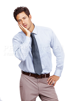 Buy stock photo Portrait of a young business man in agony with a toothache over white background