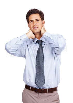 Buy stock photo Portrait of a young businessman suffering from pain in the neck isolated over white background