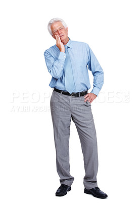 Buy stock photo Full length of a mature business man having toothache standing over white background