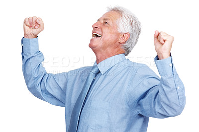 Buy stock photo Portrait of an excited elderly business man with hands raised in victory isolated against white background
