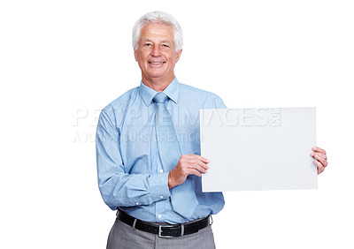 Buy stock photo Portrait of a mature business man holding a blank billboard isolated against white background