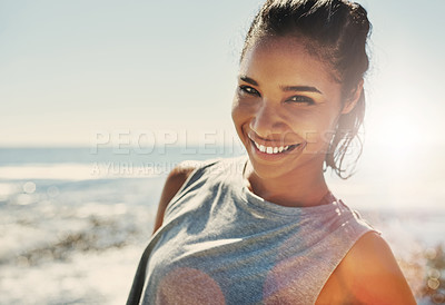 Buy stock photo Portrait of a young sporty woman standing outside