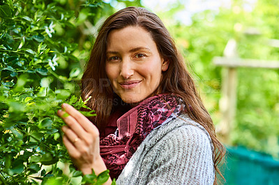 Buy stock photo Portrait of a smiling woman standing in her organic garden